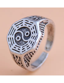 Fashion Silver Tai Chi Pattern Wide Open Ring