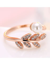 Fashion Rose Gold Inlaid Zircon Branch And Leaf Pearl Alloy Open Ring