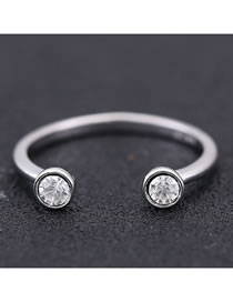 Fashion Silver Round Alloy Open Ring With Zircon