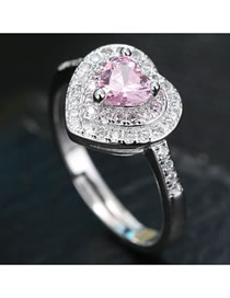 Fashion Pink Heart-shaped Zircon Alloy Contrast Color Open Ring