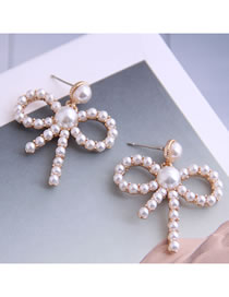Fashion Rose Gold Butterfly Combined Gold Hollow Pearl Stud Earrings