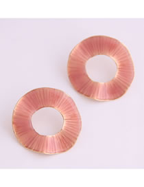 Fashion Pink Drip Alloy Concavo-convex Round Earrings