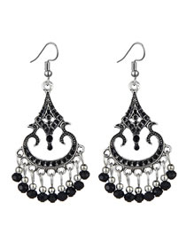 Fashion black Hollow Water Drop Tassel Drip Oil Alloy Earrings