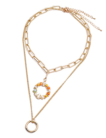 Fashion Orange Crystal Pearl Round Alloy Multilayer Necklace