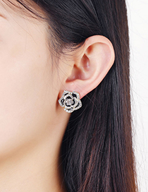 Fashion Black Rose Alloy Earrings With Diamonds
