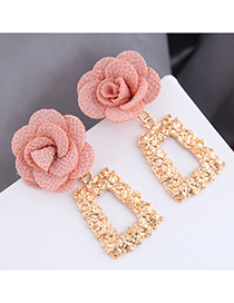 Fashion Pink Geometric Alloy Flower Earrings