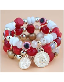 Fashion Red Eye Beaded Round Coin Multilayer Bracelet