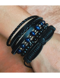 Fashion Black Handmade Beaded Rope Mens Leather Bracelet Set