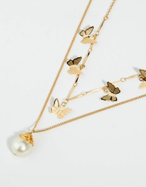 Fashion Pearl Butterfly Necklace Butterfly Alloy Pearl Three-dimensional Multi-layer Necklace