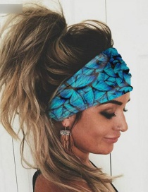 Fashion Blue Elastic Butterfly Print Wide-brimmed Hair Band