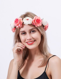 Fashion Coral Beige Simulated Rose Hit Color Hair Band