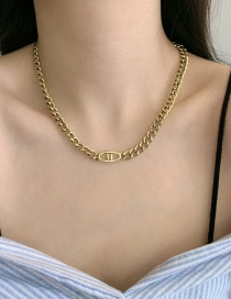 Fashion Necklace Do Old Style Distressed Brass Thick Chain Alphabet Necklace