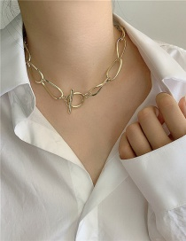 Fashion Brass Chain Ot Buckle Alloy Hollow Necklace