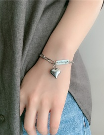 Fashion Silver Stainless Steel Letter Square Brand Love Bracelet