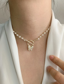 Fashion Butterfly Natural Freshwater Pearl Natural Freshwater Pearl Butterfly Love Alloy Necklace