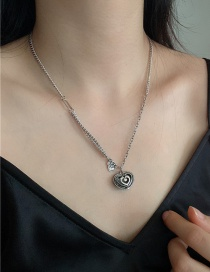 Fashion Silver Love Alloy Stitching Chain Necklace