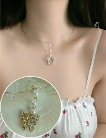Fashion Golden Butterfly Pearl Diamond Necklace