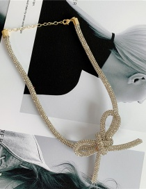Fashion Necklace Hollow Alloy Necklace Bracelet Hairpin With Diamond Bow