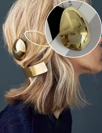 Fashion Golden Glossy Eggshell Geometric Alloy Hairpin