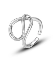 Fashion Silver Geometric Line Cross Open Ring
