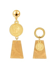 Fashion Golden Asymmetrical Round Portrait Relief Alloy Earrings