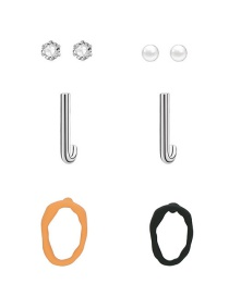 Fashion Color Alloy Pearl Diamond-studded Geometric Color Stud Earrings Set
