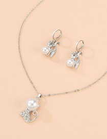Fashion Silver Alloy Diamond Pearl Cat Necklace Earrings