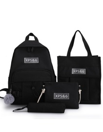 Fashion Black Four-piece Shoulder Bag With Stitching Contrast Mesh Buckle