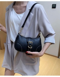 Fashion Black One-shoulder Crossbody Bag With Stitching And Contrast Belt Buckle