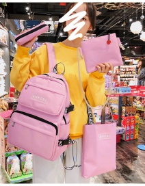 Fashion Pink Four-piece Letter Label Stitching Backpack