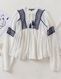 Fashion White Contrast Embroidery Stitching Tether Top