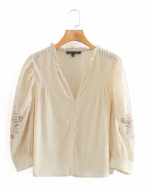 Fashion White Embroidered Sleeves Deep V-neck Shirt
