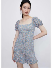 Fashion Grey Blue Floral Lace-up Ruffle Dress