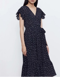 Fashion Black Polka Dot Ruffled Sleeve Dress