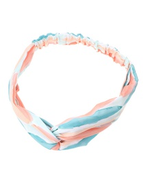 Fashion Color Mixing Checked Fabric Print Cross Knotted Hoop