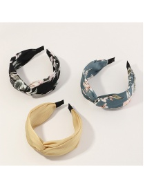 Fashion Yellow Black Blue Flower Print Knotted Wide-brimmed Hair Band Set