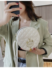 Fashion White Cat Pendant Quilted Shoulder Crossbody Bag