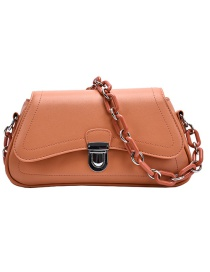 Fashion Orange Chain Lock Shoulder Crossbody Bag