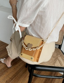 Fashion Yellow Matte Stitching Contrast Color Love Chain Chain Shoulder Bag