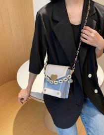 Fashion Beige Matte Stitching Contrast Color Love Chain Chain Shoulder Bag