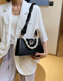 Fashion Black Pearl Lock Buckle Strap Crossbody Shoulder Bag
