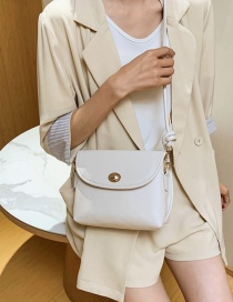 Fashion Beige Solid Color Shoulder Messenger Bag With Flip Lock