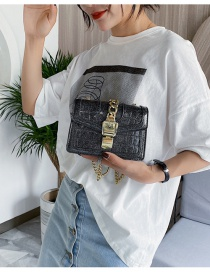 Fashion Black Chain And Stone Crossbody Bag