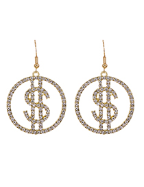 Fashion Golden Alloy Diamond Hollow Earrings