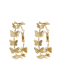 Fashion Golden Alloy Round Butterfly Stud Earrings