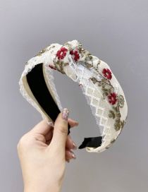 Fashion White Embroidered Small Flowers With Wide Knotted Mesh Headband