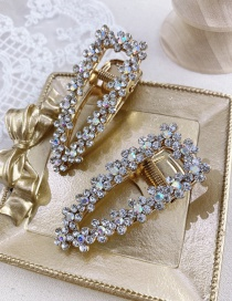 Fashion Golden Single Triangle Alloy Hollow Hairpin With Diamond Flowers