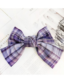 Fashion Purple Plaid Fabric Butterfly Combined With Blonde Clip