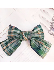 Fashion Green Plaid Fabric Butterfly Combined With Blonde Clip