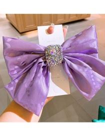 Fashion Purple Silk Full Diamond Big Bow Spring Clip